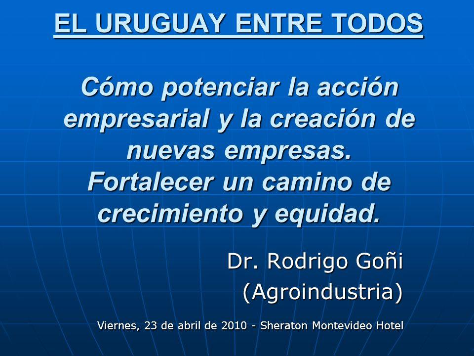 EL URUGUAY ENTRE TODOS Cómo potenciar la acción empresarial y la creación de nuevas empresas.