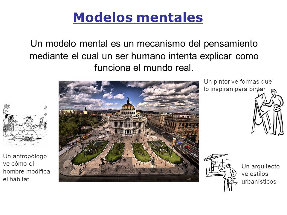 Modelos mentales Un modelo mental es un mecanismo del pensamiento mediante el cual un ser humano intenta explicar como funciona el mundo real. Un pint
