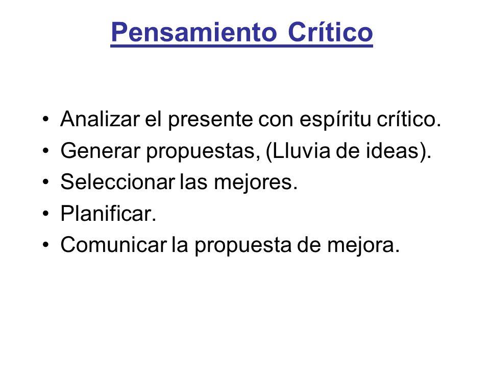 Pensamiento Crítico Analizar el presente con espíritu crítico. Generar propuestas, (Lluvia de ideas). Seleccionar las mejores. Planificar. Comunicar l