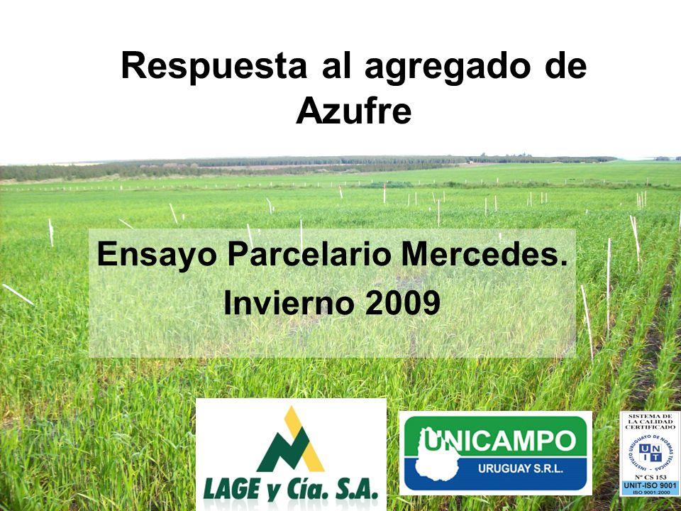 Respuesta al agregado de Azufre Ensayo Parcelario Mercedes. Invierno 2009
