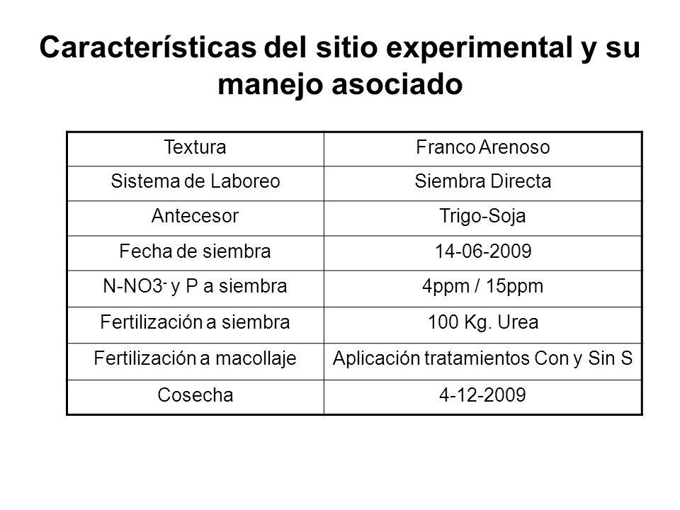 TexturaFranco Arenoso Sistema de LaboreoSiembra Directa AntecesorTrigo-Soja Fecha de siembra14-06-2009 N-NO3 - y P a siembra4ppm / 15ppm Fertilización