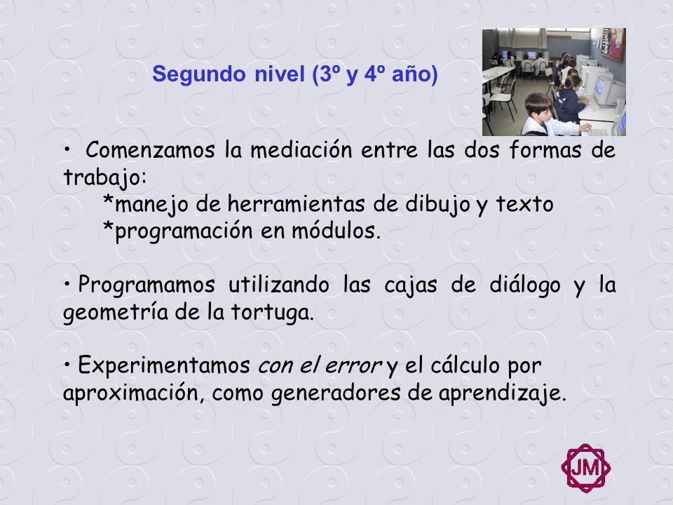 Tercer nivel (5º y 6º año) Etapa de investigación y apropiación de las herramientas multimediales Avances notorios en la programación.