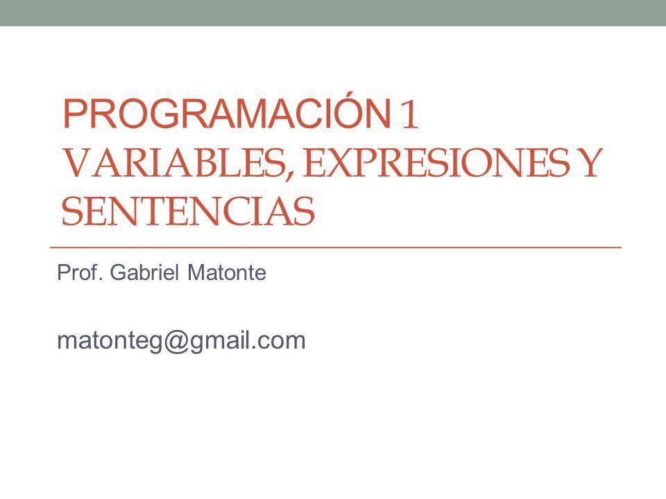 PROGRAMACIÓN 1 VARIABLES, EXPRESIONES Y SENTENCIAS Prof. Gabriel Matonte matonteg@gmail.com