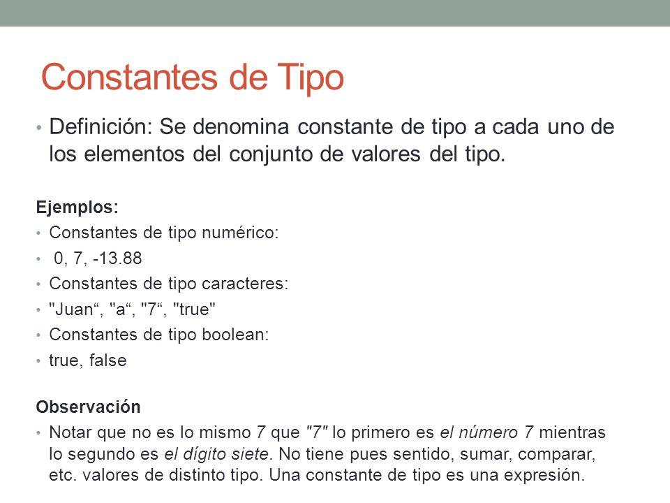 Constantes de Tipo Definición: Se denomina constante de tipo a cada uno de los elementos del conjunto de valores del tipo. Ejemplos: Constantes de tip