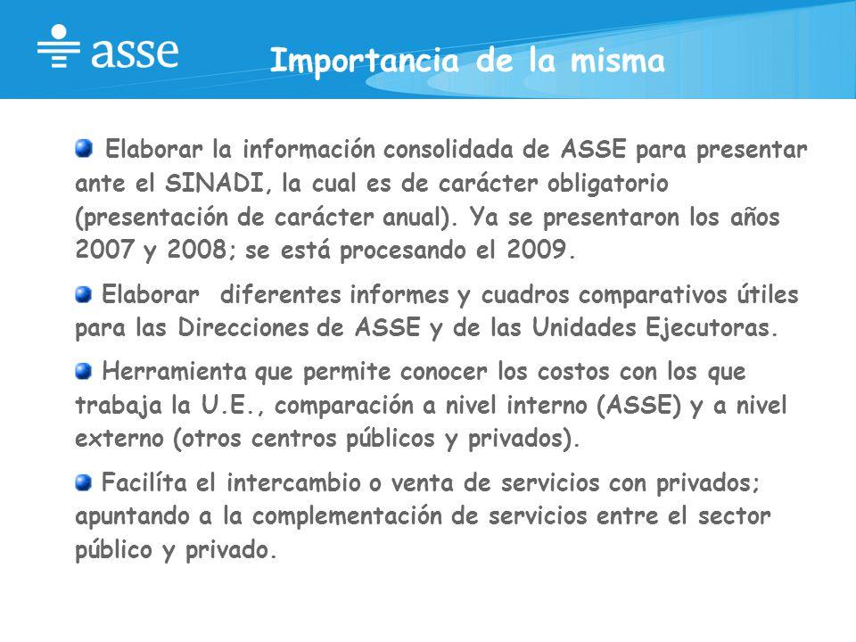 Importancia de la misma Elaborar la información consolidada de ASSE para presentar ante el SINADI, la cual es de carácter obligatorio (presentación de carácter anual).