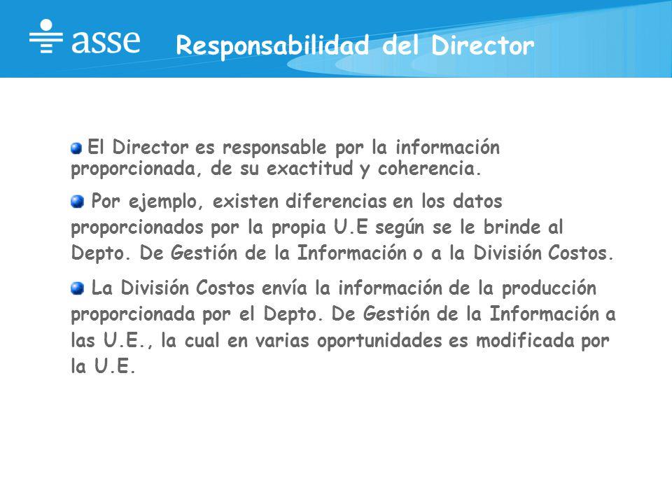 Responsabilidad del Director El Director es responsable por la información proporcionada, de su exactitud y coherencia.