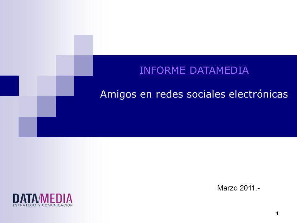 1 INFORME DATAMEDIA Amigos en redes sociales electrónicas Marzo 2011.-