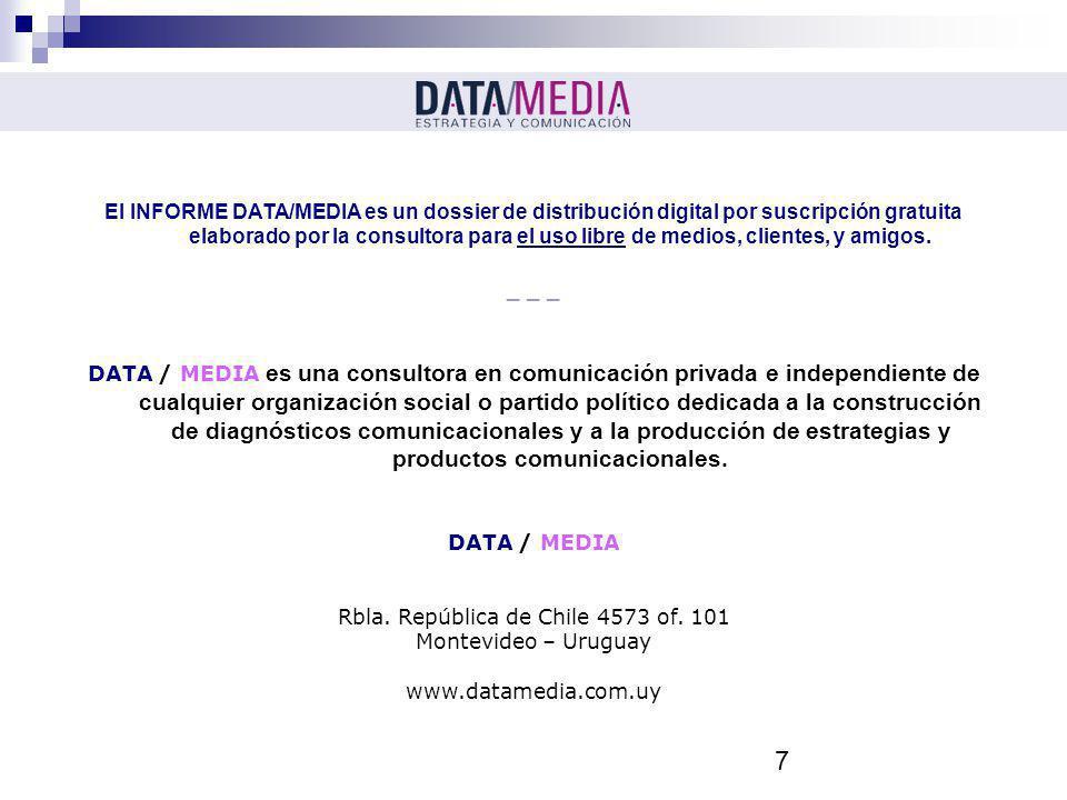 7 El INFORME DATA/MEDIA es un dossier de distribución digital por suscripción gratuita elaborado por la consultora para el uso libre de medios, client