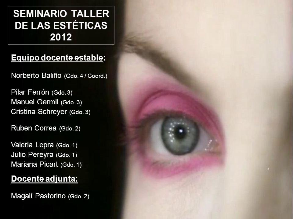 SEMINARIO TALLER DE LAS ESTÉTICAS 2012 Docentes invitados: Verónica Filardo (Gdo.
