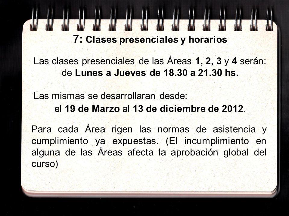 7: Clases presenciales y horarios Las clases presenciales de las Áreas 1, 2, 3 y 4 serán: de Lunes a Jueves de 18.30 a 21.30 hs.