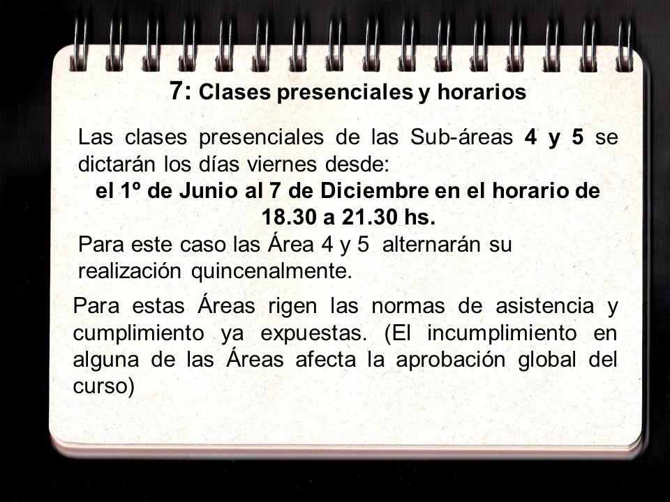 7: Clases presenciales y horarios Para estas Áreas rigen las normas de asistencia y cumplimiento ya expuestas.