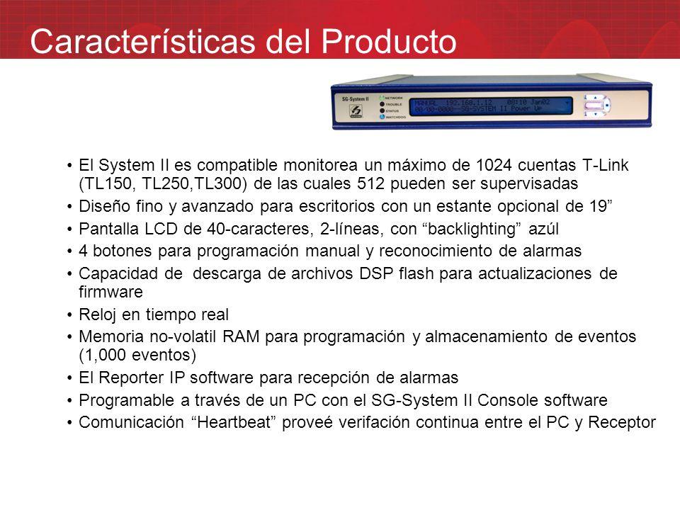 El System II es compatible monitorea un máximo de 1024 cuentas T-Link (TL150, TL250,TL300) de las cuales 512 pueden ser supervisadas Diseño fino y ava