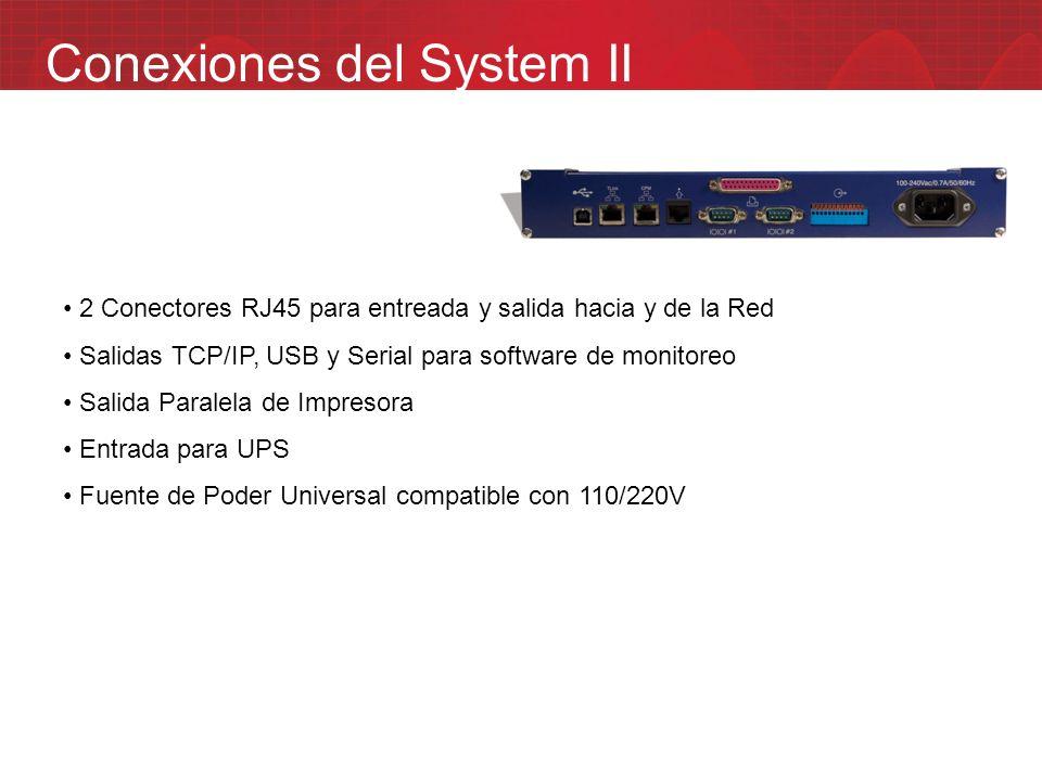 Conexiones del System II 2 Conectores RJ45 para entreada y salida hacia y de la Red Salidas TCP/IP, USB y Serial para software de monitoreo Salida Par