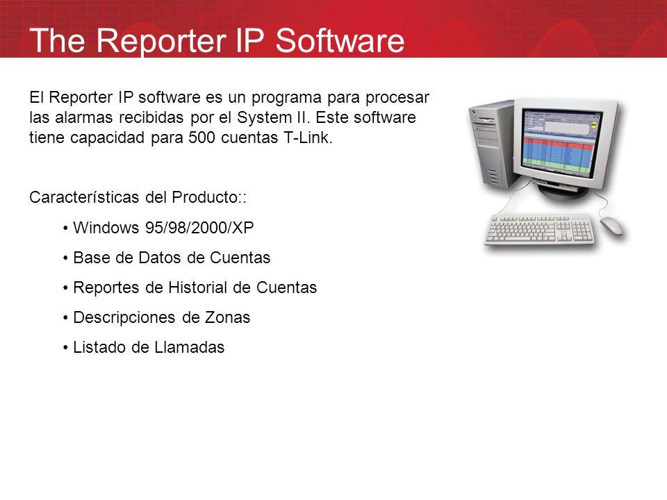 The Reporter IP Software El Reporter IP software es un programa para procesar las alarmas recibidas por el System II. Este software tiene capacidad pa