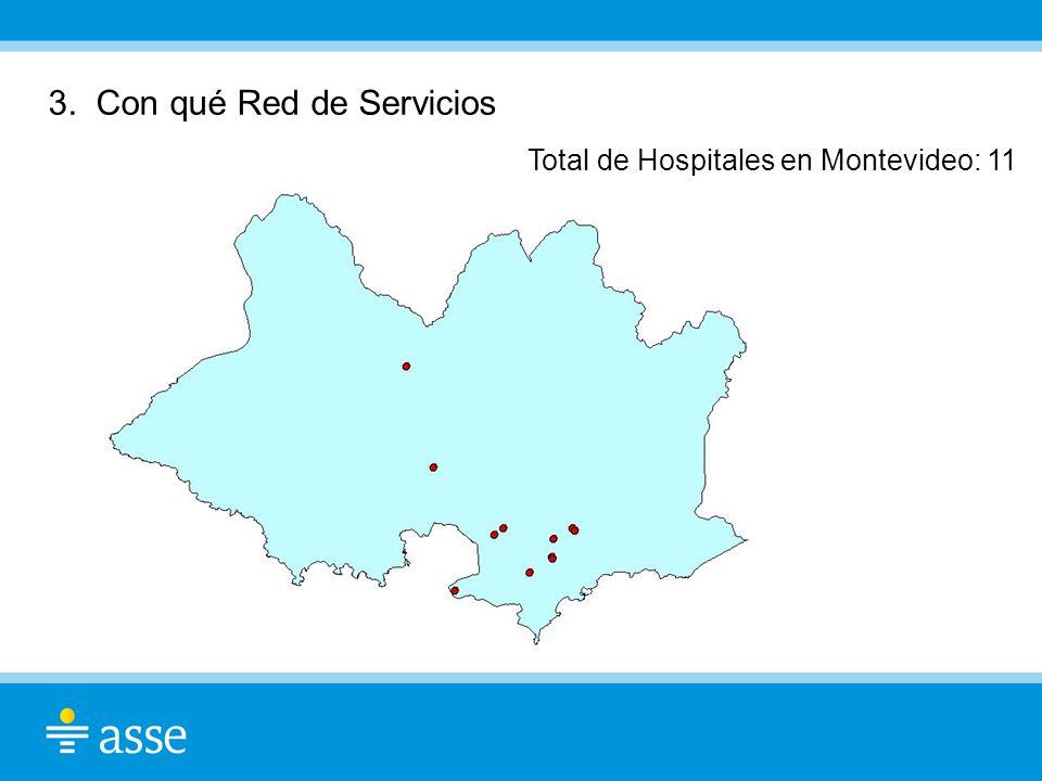 3. Con qué Red de Servicios Total de Hospitales en Montevideo: 11