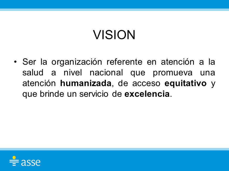 VISION Ser la organización referente en atención a la salud a nivel nacional que promueva una atención humanizada, de acceso equitativo y que brinde u