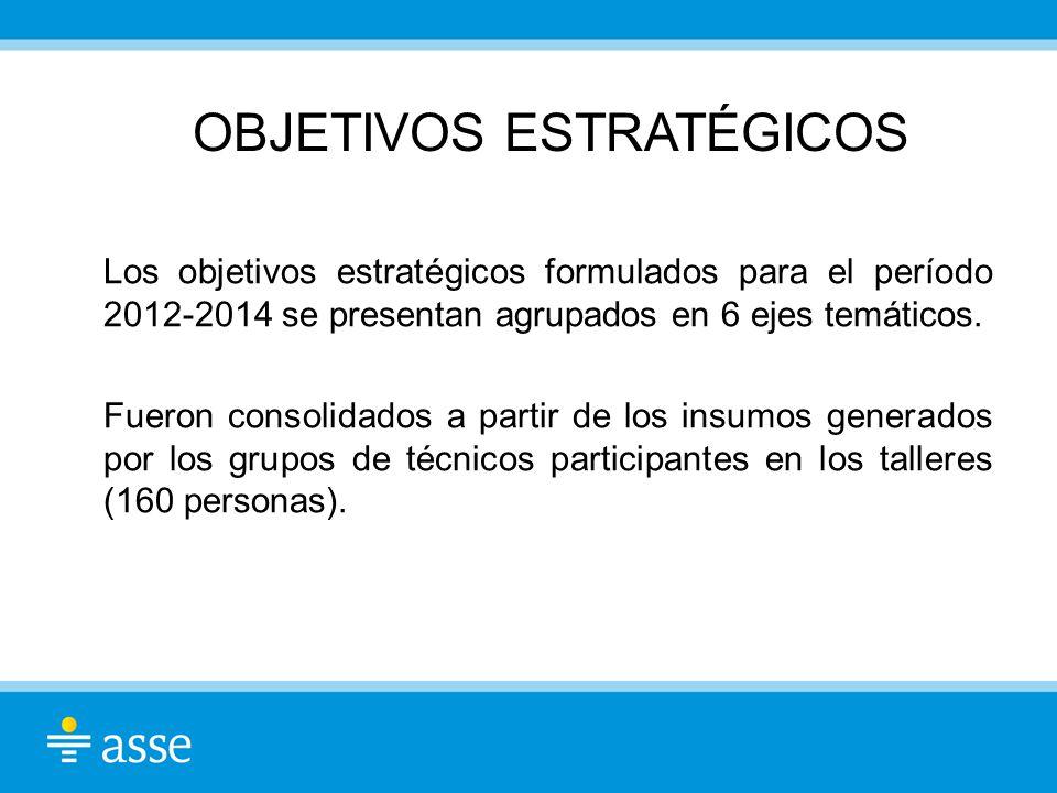 OBJETIVOS ESTRATÉGICOS Los objetivos estratégicos formulados para el período 2012-2014 se presentan agrupados en 6 ejes temáticos. Fueron consolidados