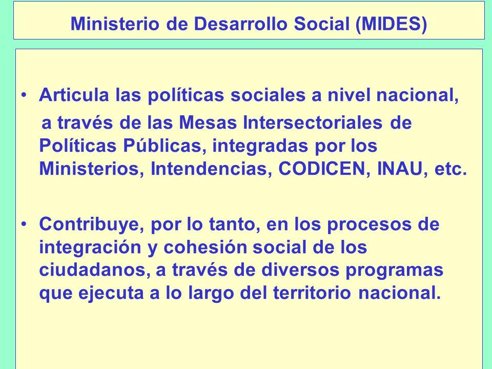 Ministerio de Desarrollo Social (MIDES) Articula las políticas sociales a nivel nacional, a través de las Mesas Intersectoriales de Políticas Públicas, integradas por los Ministerios, Intendencias, CODICEN, INAU, etc.