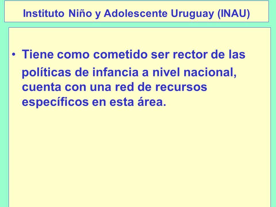 Instituto Niño y Adolescente Uruguay (INAU) Tiene como cometido ser rector de las políticas de infancia a nivel nacional, cuenta con una red de recursos específicos en esta área.