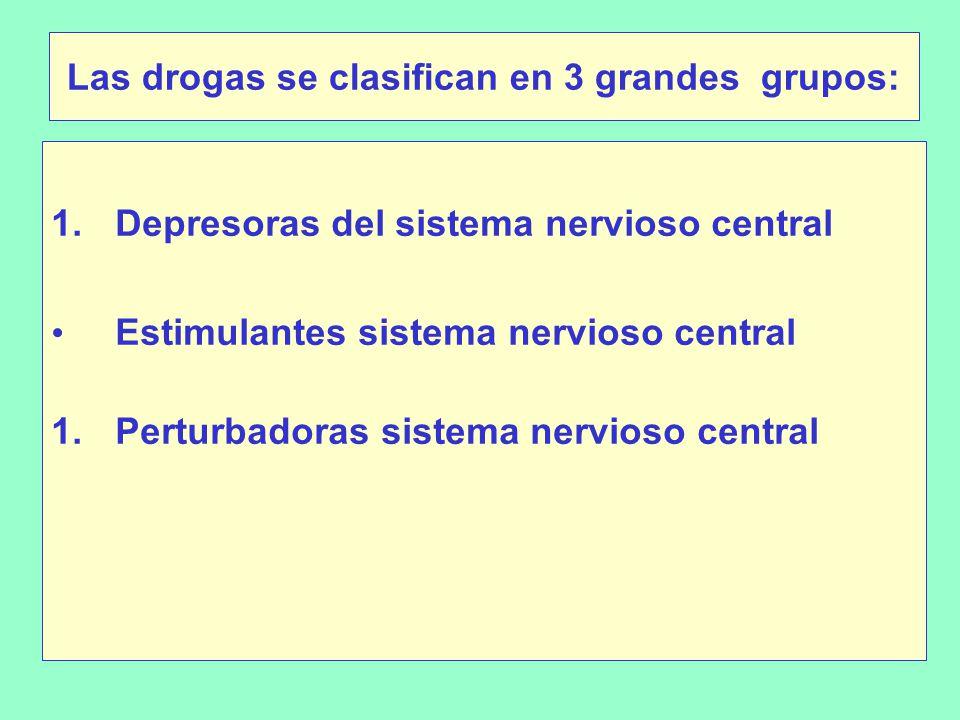 Las drogas se clasifican en 3 grandes grupos: 1.Depresoras del sistema nervioso central Estimulantes sistema nervioso central 1.Perturbadoras sistema nervioso central