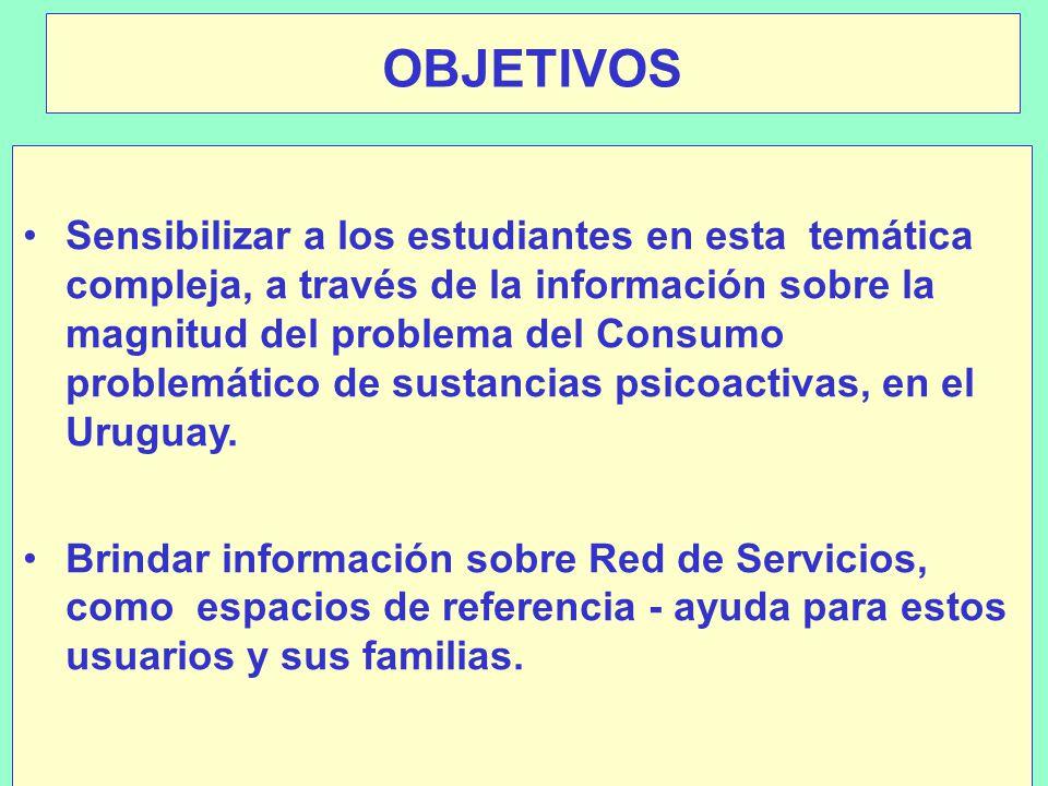 OBJETIVOS Sensibilizar a los estudiantes en esta temática compleja, a través de la información sobre la magnitud del problema del Consumo problemático de sustancias psicoactivas, en el Uruguay.