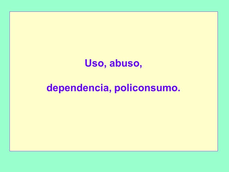 Uso, abuso, dependencia, policonsumo.
