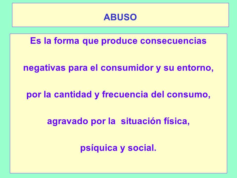 ABUSO Es la forma que produce consecuencias negativas para el consumidor y su entorno, por la cantidad y frecuencia del consumo, agravado por la situación física, psíquica y social.
