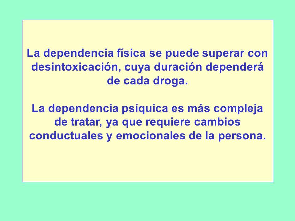 La dependencia física se puede superar con desintoxicación, cuya duración dependerá de cada droga.