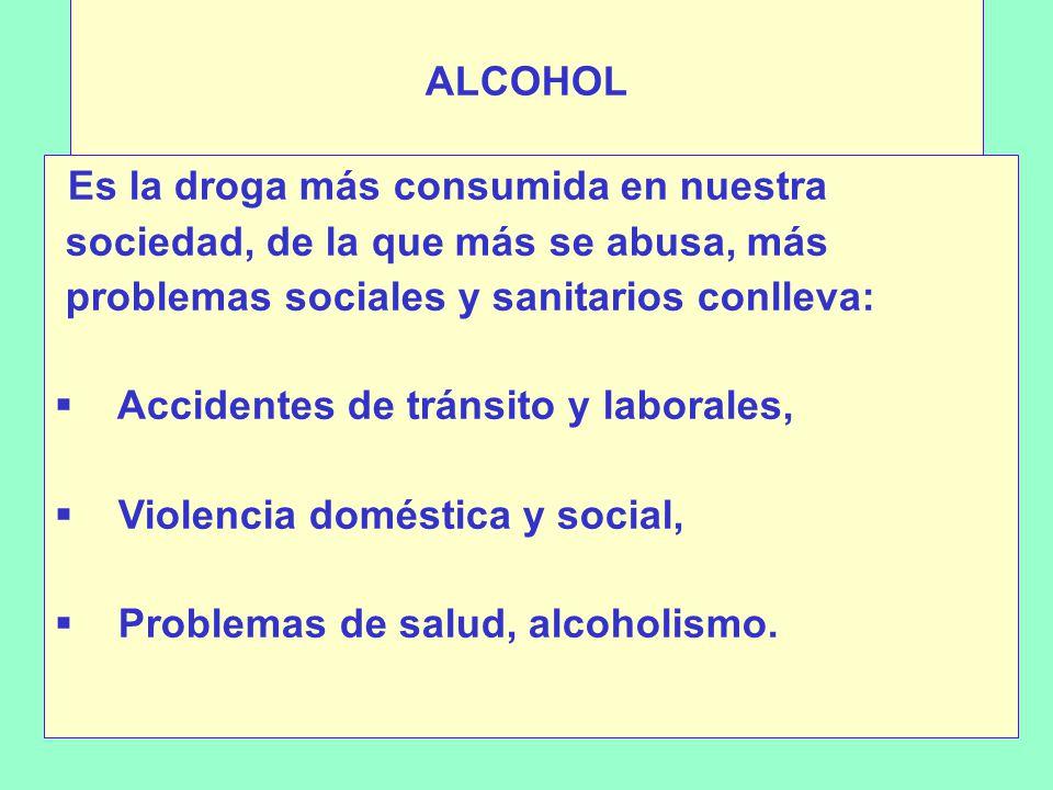 ALCOHOL Es la droga más consumida en nuestra sociedad, de la que más se abusa, más problemas sociales y sanitarios conlleva: Accidentes de tránsito y laborales, Violencia doméstica y social, Problemas de salud, alcoholismo.