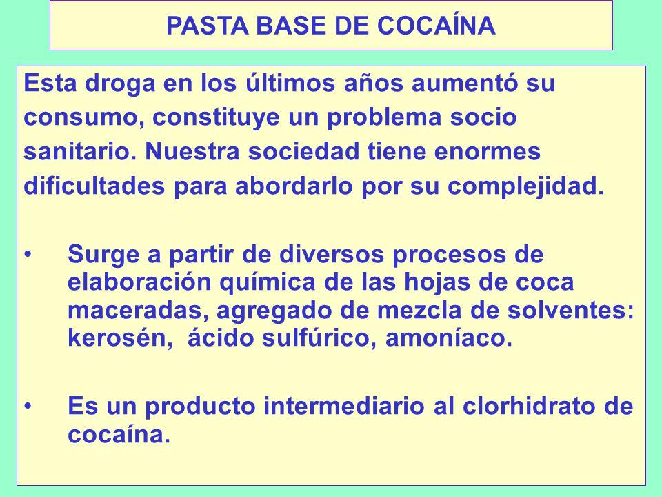 PASTA BASE DE COCAÍNA Esta droga en los últimos años aumentó su consumo, constituye un problema socio sanitario.