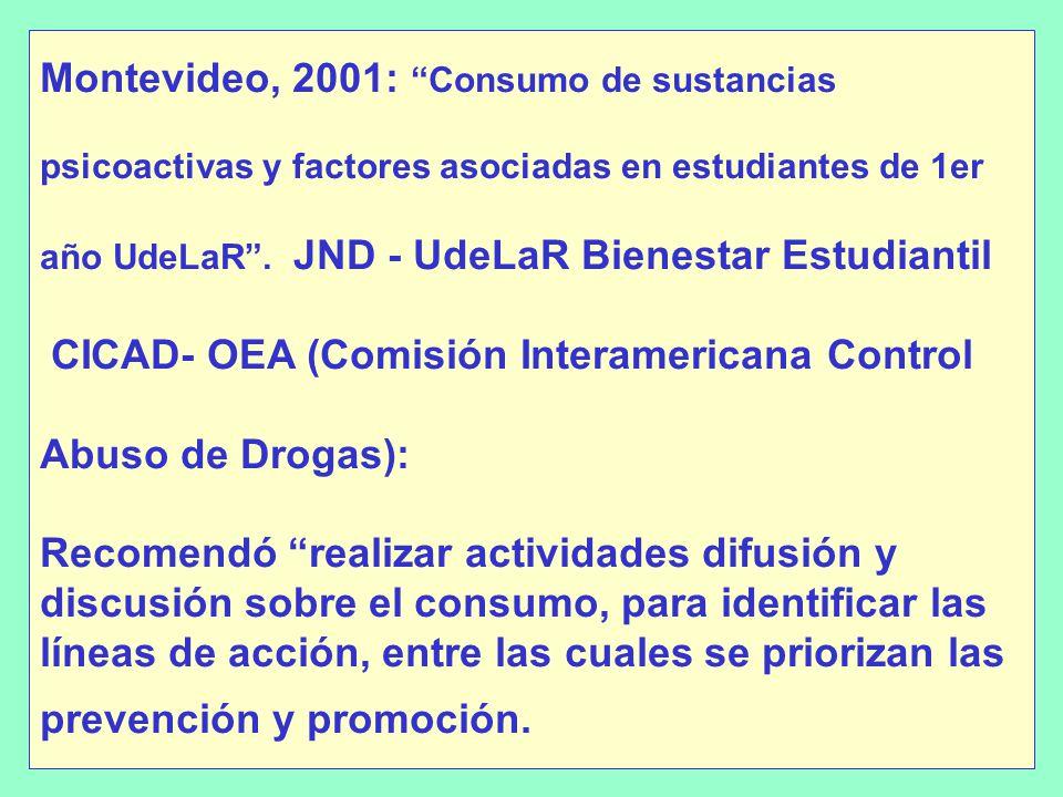 Montevideo, 2001: Consumo de sustancias psicoactivas y factores asociadas en estudiantes de 1er año UdeLaR.