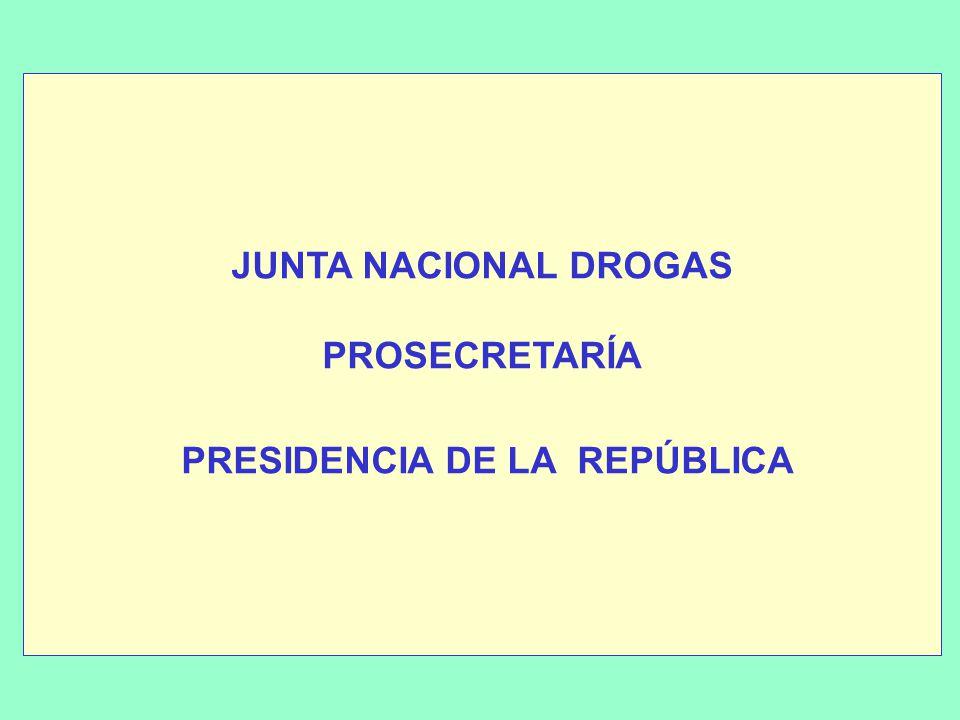 JUNTA NACIONAL DROGAS PROSECRETARÍA PRESIDENCIA DE LA REPÚBLICA