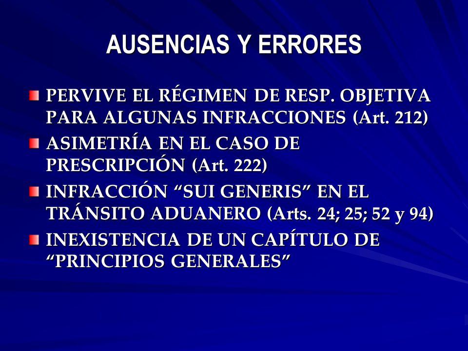 AUSENCIAS Y ERRORES PERVIVE EL RÉGIMEN DE RESP. OBJETIVA PARA ALGUNAS INFRACCIONES (Art.