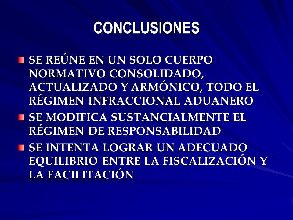 CONCLUSIONES SE REÚNE EN UN SOLO CUERPO NORMATIVO CONSOLIDADO, ACTUALIZADO Y ARMÓNICO, TODO EL RÉGIMEN INFRACCIONAL ADUANERO SE MODIFICA SUSTANCIALMENTE EL RÉGIMEN DE RESPONSABILIDAD SE INTENTA LOGRAR UN ADECUADO EQUILIBRIO ENTRE LA FISCALIZACIÓN Y LA FACILITACIÓN