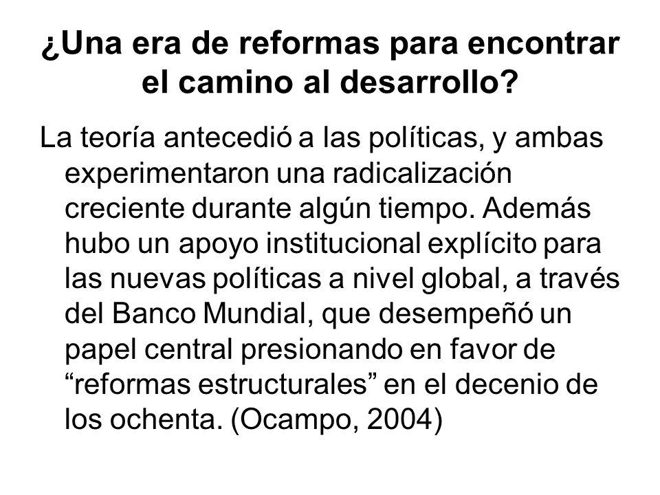 ¿Una era de reformas para encontrar el camino al desarrollo? La teoría antecedió a las políticas, y ambas experimentaron una radicalización creciente
