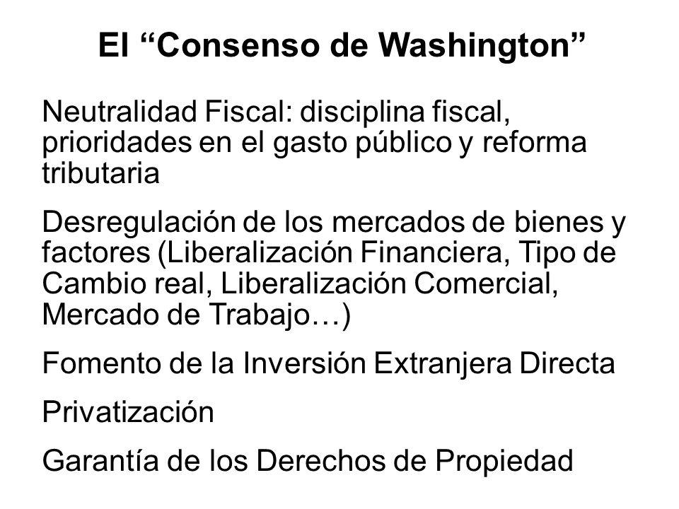 El Consenso de Washington Neutralidad Fiscal: disciplina fiscal, prioridades en el gasto público y reforma tributaria Desregulación de los mercados de