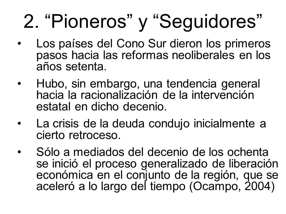 2. Pioneros y Seguidores Los países del Cono Sur dieron los primeros pasos hacia las reformas neoliberales en los años setenta. Hubo, sin embargo, una