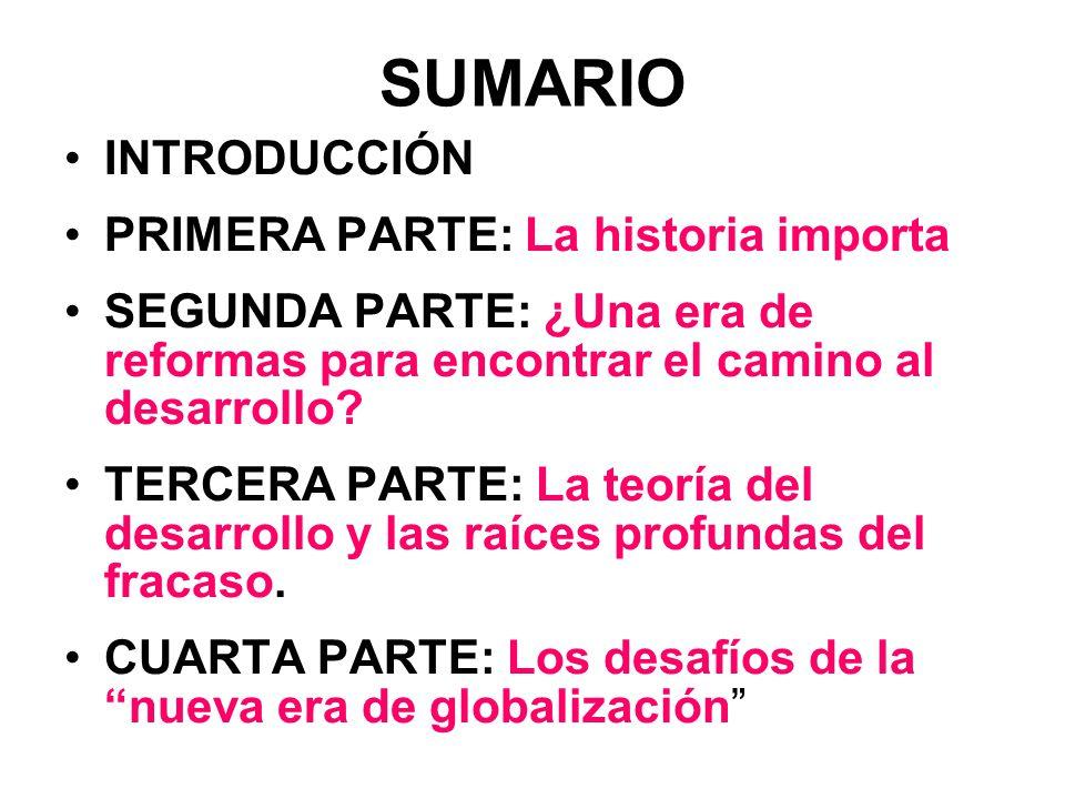 SUMARIO INTRODUCCIÓN PRIMERA PARTE: La historia importa SEGUNDA PARTE: ¿Una era de reformas para encontrar el camino al desarrollo? TERCERA PARTE: La
