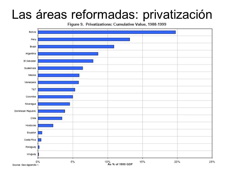 Las áreas reformadas: privatización