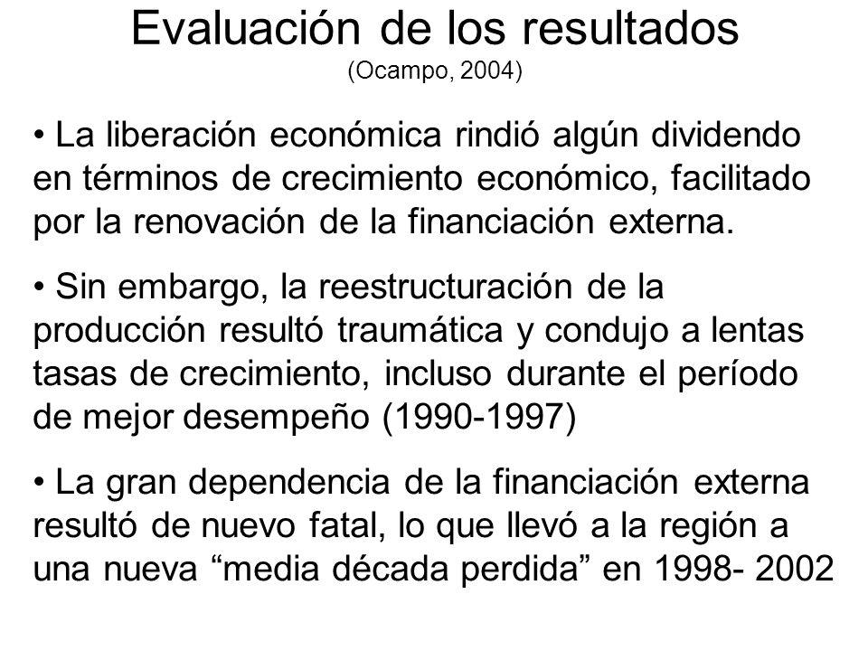 Evaluación de los resultados (Ocampo, 2004) La liberación económica rindió algún dividendo en términos de crecimiento económico, facilitado por la ren