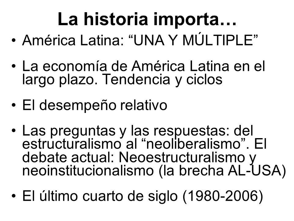 La historia importa… América Latina: UNA Y MÚLTIPLE La economía de América Latina en el largo plazo. Tendencia y ciclos El desempeño relativo Las preg