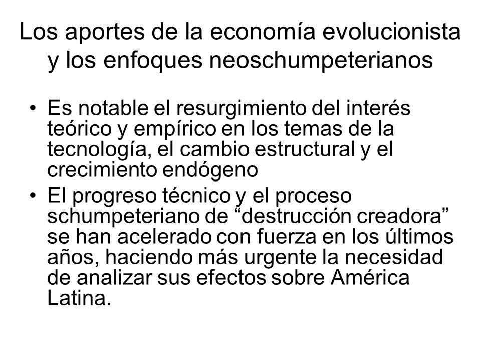 Los aportes de la economía evolucionista y los enfoques neoschumpeterianos Es notable el resurgimiento del interés teórico y empírico en los temas de