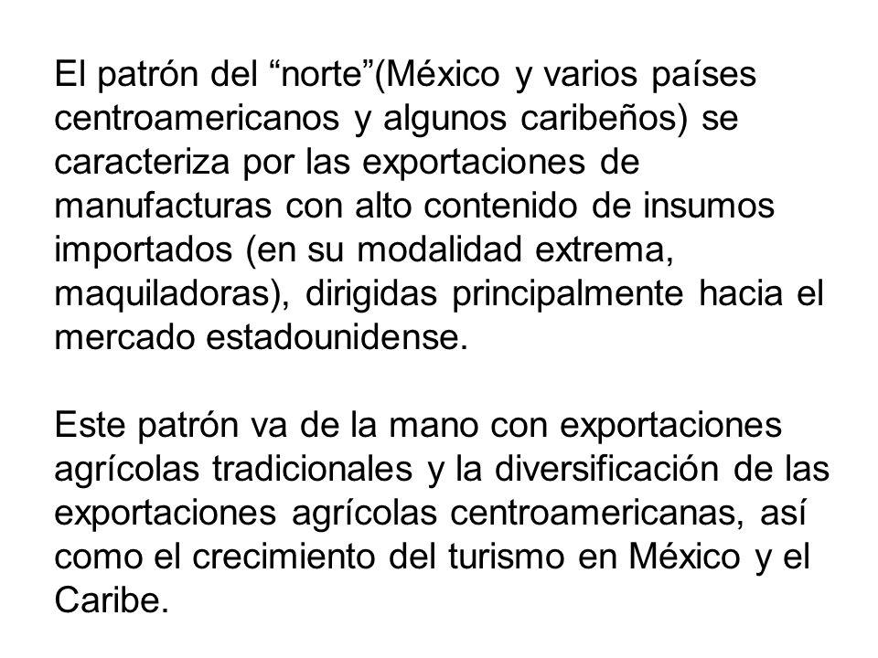 El patrón del norte(México y varios países centroamericanos y algunos caribeños) se caracteriza por las exportaciones de manufacturas con alto contenido de insumos importados (en su modalidad extrema, maquiladoras), dirigidas principalmente hacia el mercado estadounidense.