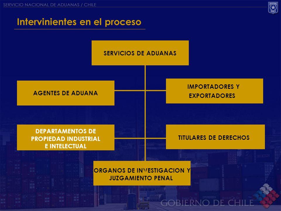 Intervinientes en el proceso SERVICIOS DE ADUANAS AGENTES DE ADUANA TITULARES DE DERECHOS DEPARTAMENTOS DE PROPIEDAD INDUSTRIAL E INTELECTUAL ORGANOS