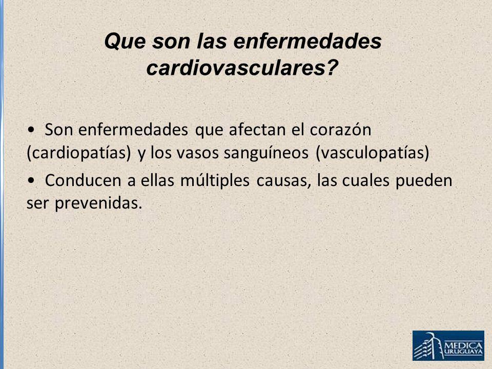 Que son las enfermedades cardiovasculares? Son enfermedades que afectan el corazón (cardiopatías) y los vasos sanguíneos (vasculopatías) Conducen a el