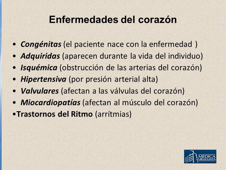 Enfermedades del corazón Congénitas (el paciente nace con la enfermedad ) Adquiridas (aparecen durante la vida del individuo) Isquémica (obstrucción d