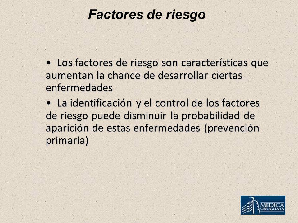 Factores de riesgo Los factores de riesgo son características que aumentan la chance de desarrollar ciertas enfermedades Los factores de riesgo son ca