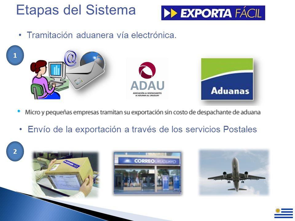 Etapas del Sistema Tramitación aduanera vía electrónica.