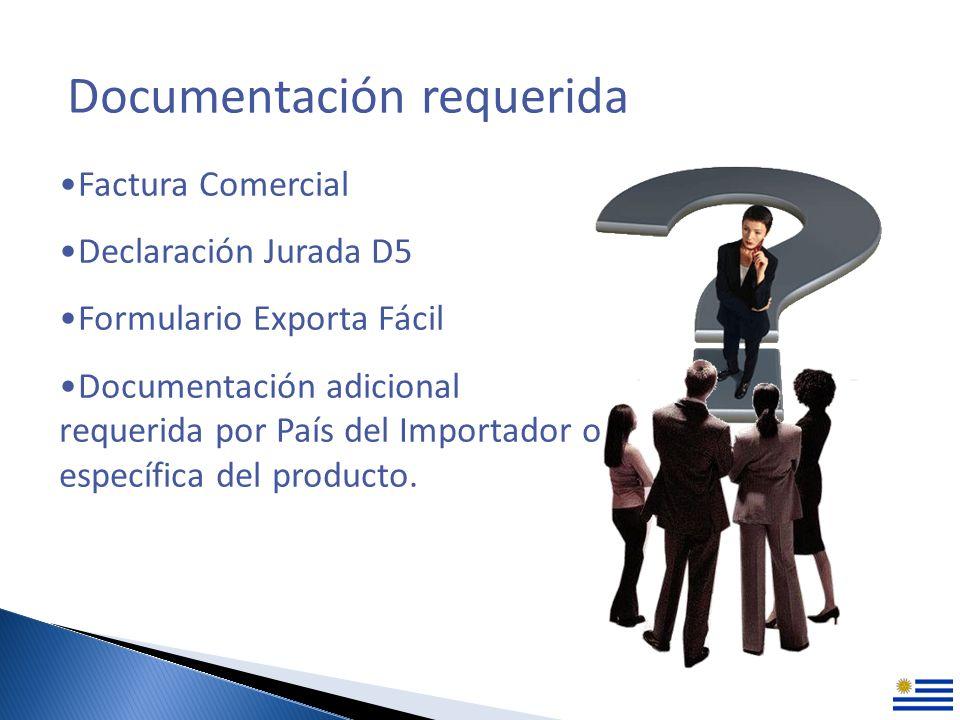 Documentación requerida Factura Comercial Declaración Jurada D5 Formulario Exporta Fácil Documentación adicional requerida por País del Importador o específica del producto.