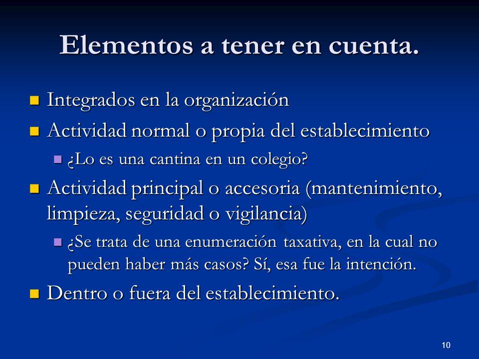 10 Elementos a tener en cuenta. Integrados en la organización Integrados en la organización Actividad normal o propia del establecimiento Actividad no